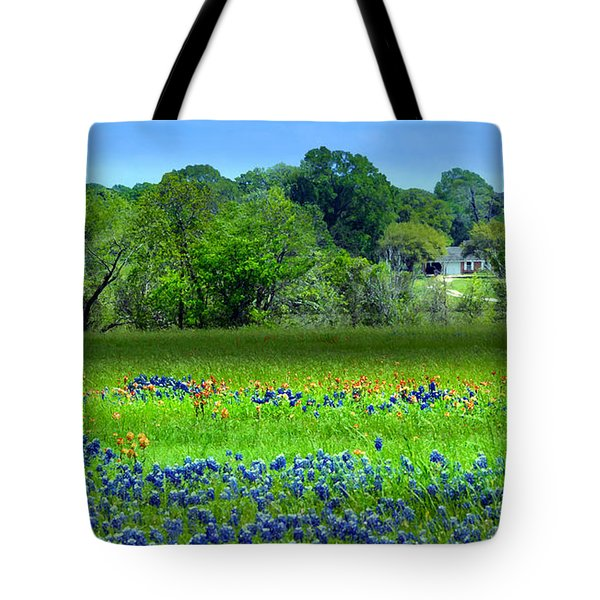 Tote Bag featuring the mixed media Decorative Texas Homestead Bluebonnets Meadow Mixed Media Photo H32517 by Mas Art Studio