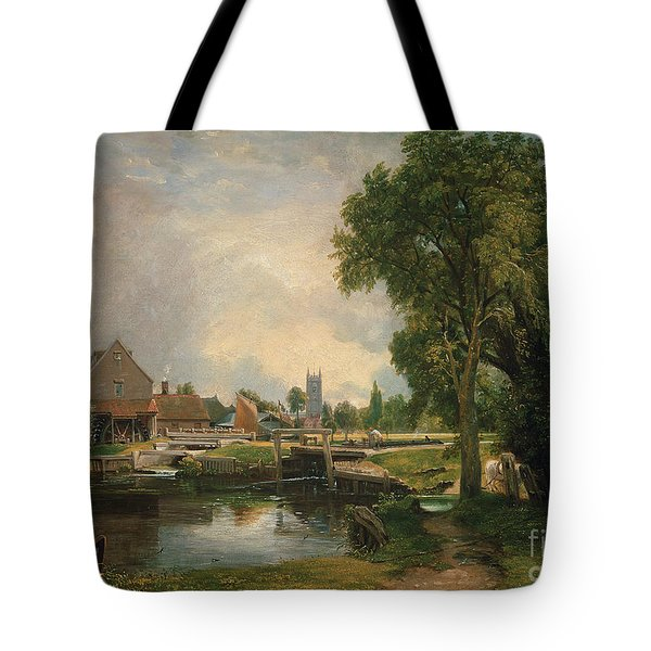 Dedham Lock And Mill Tote Bag by John Constable