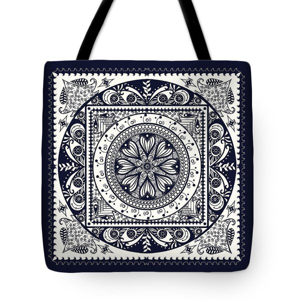 Deep Blue Classic Mandala Tote Bag by Deborah Smith