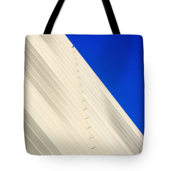 Deep Blue Sky And Office Building Wall Tote Bag
