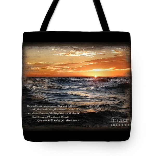 Tote Bag featuring the mixed media Deep Calls To Deep - Rustic by Shevon Johnson