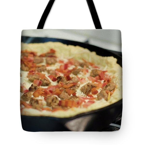 Tote Bag featuring the photograph Deep Dish Pizza 001 by Andee Design