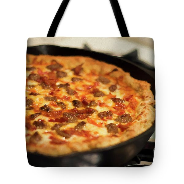 Tote Bag featuring the photograph Deep Dish Pizza 003 by Andee Design