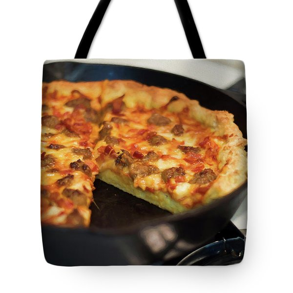 Tote Bag featuring the photograph Deep Dish Pizza 004 by Andee Design