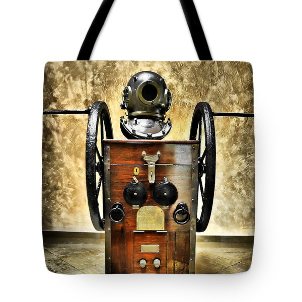 Deep Diver Equipment In Vintage Process Tote Bag by Pedro Cardona Llambias
