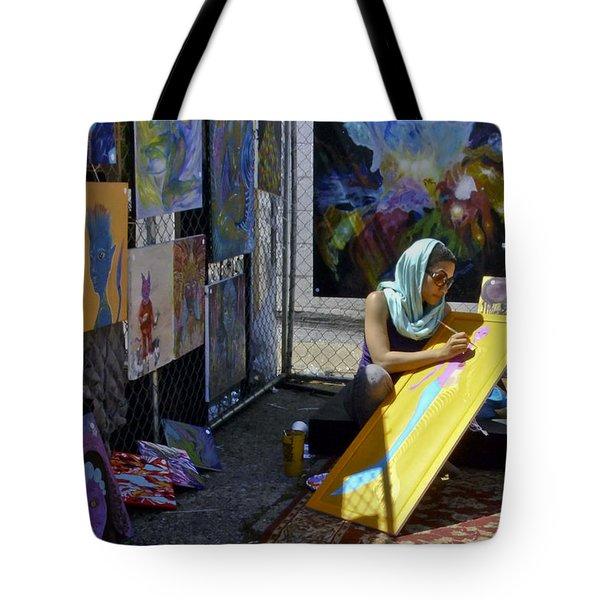 Deep Elum - Artist At Work  Tote Bag