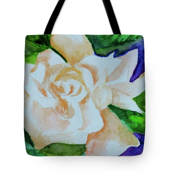 Tote Bag featuring the painting Deep Gardenia by Beverley Harper Tinsley