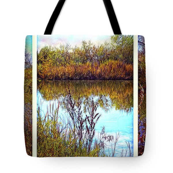 Deep Lake Reflections - Triptych Tote Bag