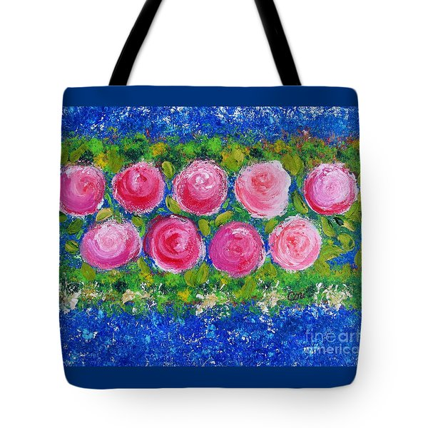 Tote Bag featuring the painting Deep Pink Flowers by Corinne Carroll