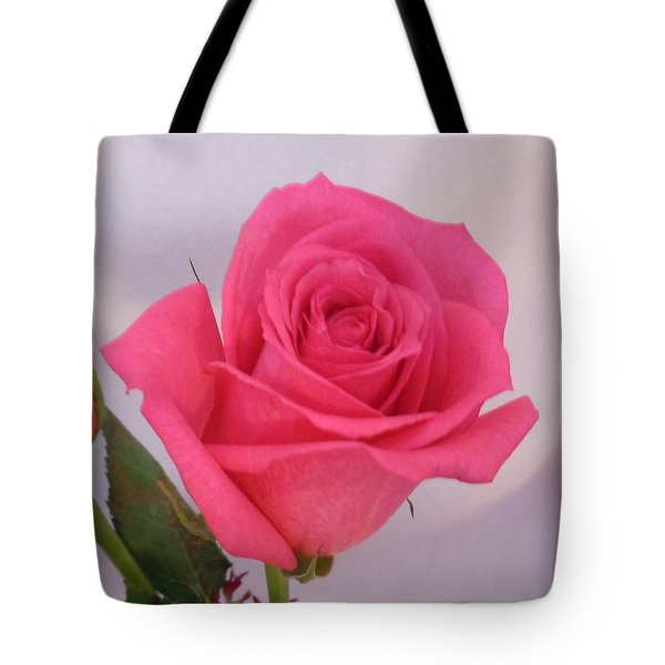 Single Deep Pink Rose Tote Bag