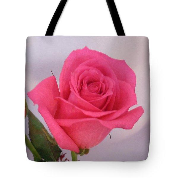 Single Deep Pink Rose Tote Bag