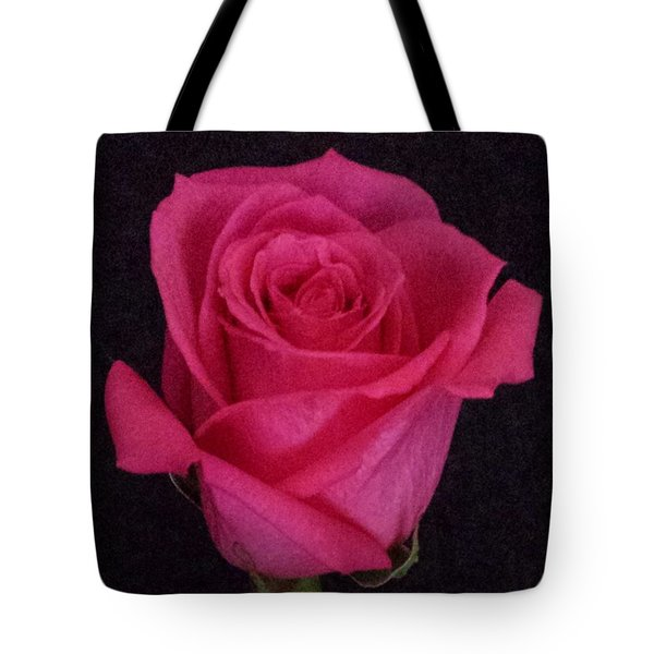 Deep Pink Rose On Black Tote Bag