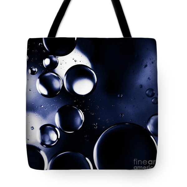 Tote Bag featuring the photograph deep purple blue tones Macro Water Droplets by Sharon Mau