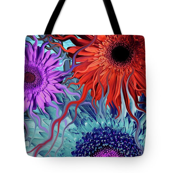 Deep Water Daisy Dance Tote Bag