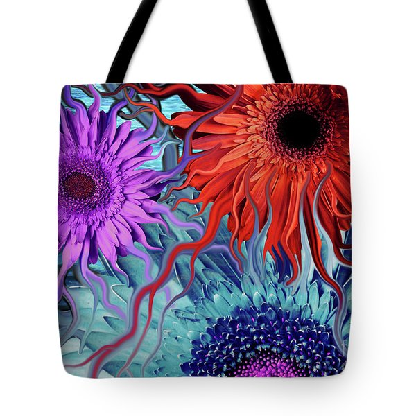 Tote Bag featuring the painting Deep Water Daisy Dance by Christopher Beikmann