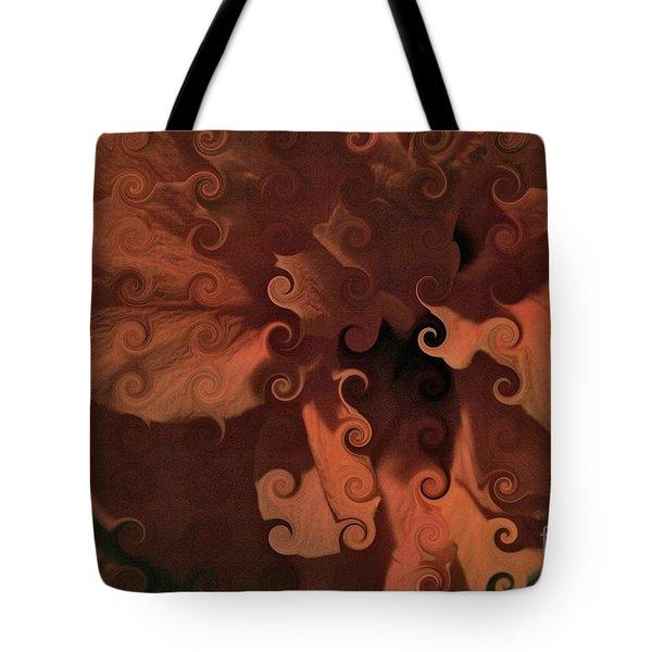 Deep Wine Curlicue Hibiscus Tote Bag