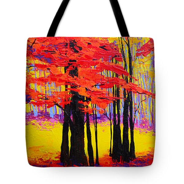 Tote Bag featuring the painting Deep Within - Enchanted Forest Collection - Modern Impressionist Landscape Art - Palette Knife by Patricia Awapara