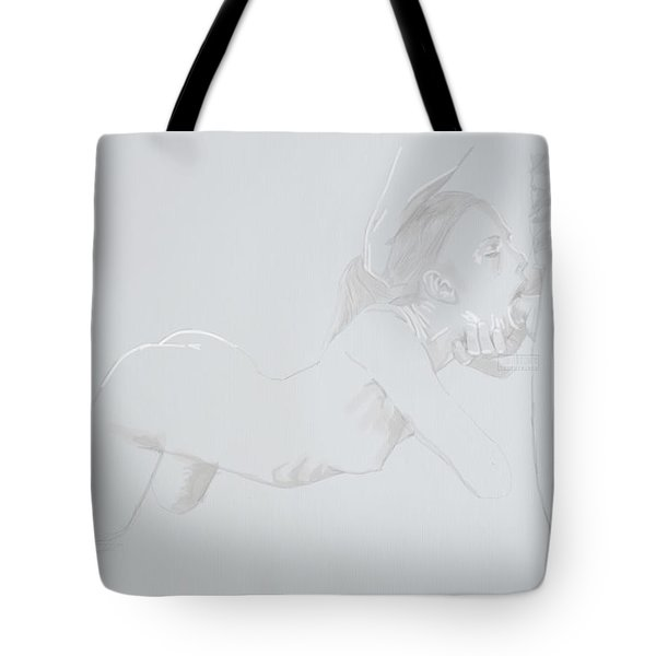 Tote Bag featuring the mixed media Deepthroat by TortureLord Art