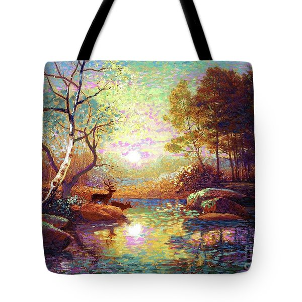 Deer And Dancing Shadows Tote Bag