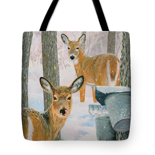 Deer And Sap Buckets Tote Bag