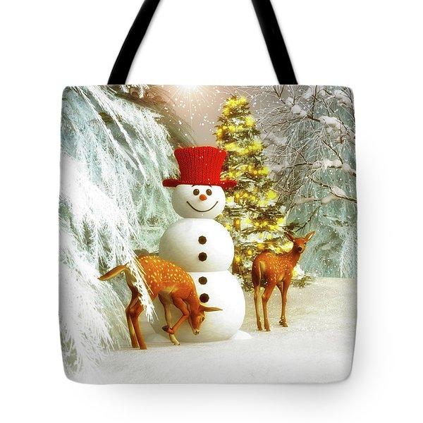 Deer And Snowman Tote Bag
