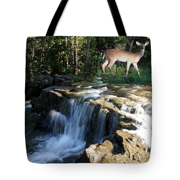Tote Bag featuring the photograph Deer At The Falls by Rick Friedle