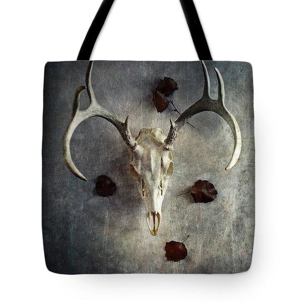 Deer Buck Skull With Fallen Leaves Tote Bag by Stephanie Frey
