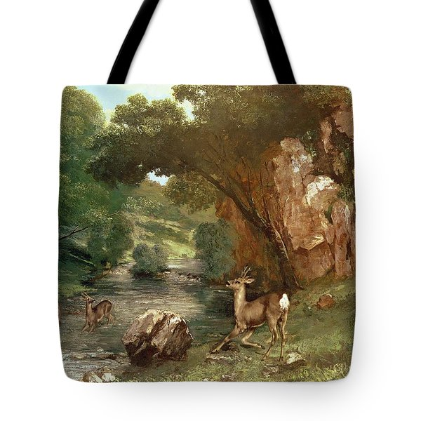 Deer By A River Tote Bag by Gustave Courbet