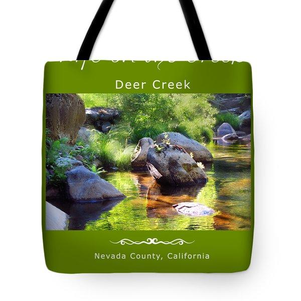 Deer Creek Ferns - White Text Tote Bag