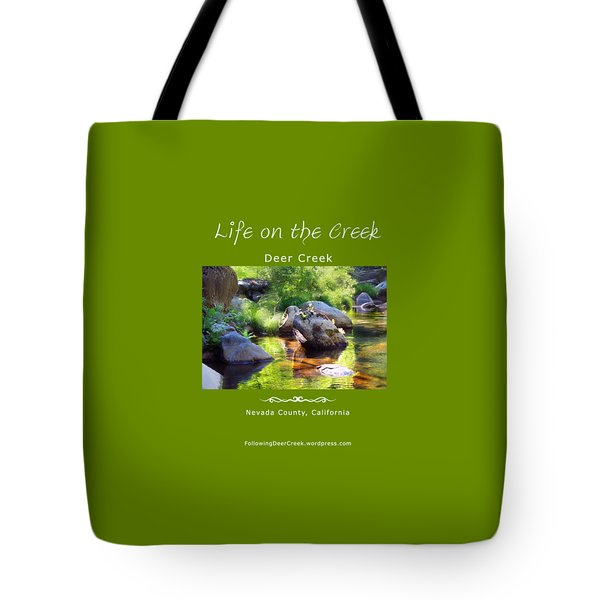 Deer Creek Ferns - White Text Tote Bag