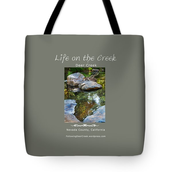 Deer Creek Point - White Text Tote Bag