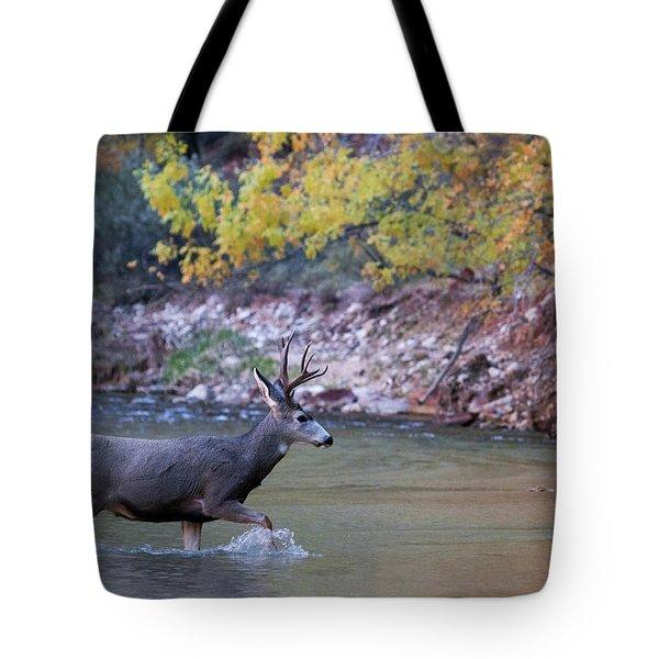 Deer Crossing River Tote Bag
