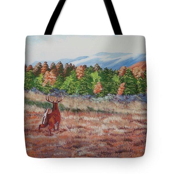 Deer In Fall Tote Bag by Charlotte Blanchard