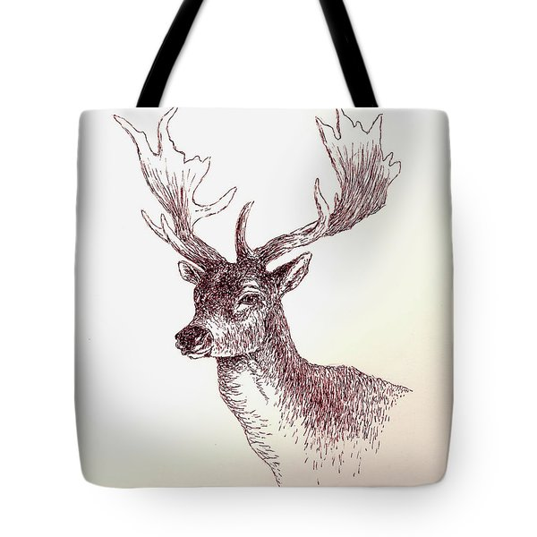 Deer In Ink Tote Bag