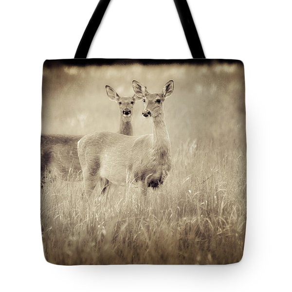 Deer In Sepia Tote Bag