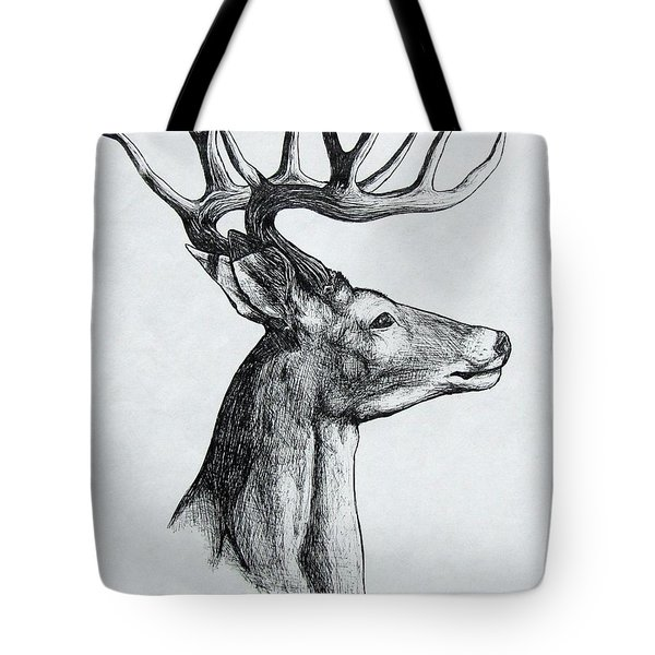 Tote Bag featuring the drawing Deer by Michael  TMAD Finney