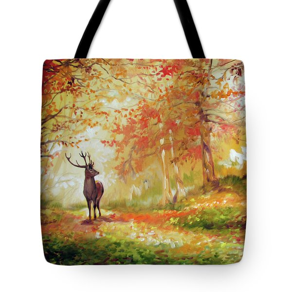 Deer On The Wooden Path Tote Bag