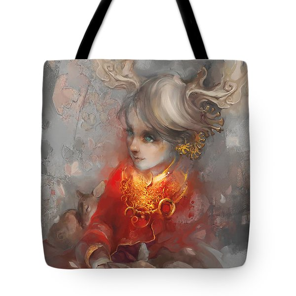 Tote Bag featuring the digital art Deer Princess by Te Hu