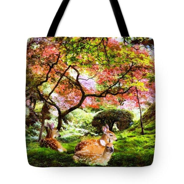 Deer Relaxing In A Meadow Tote Bag