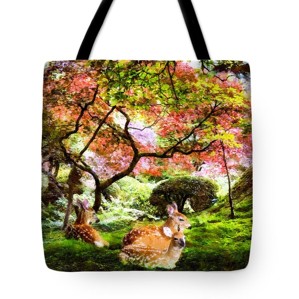 Deer Relaxing In A Meadow Tote Bag
