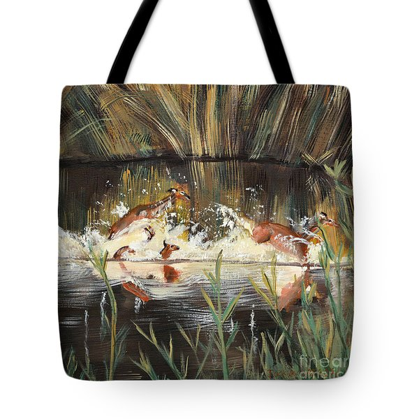 Deer Running Tote Bag