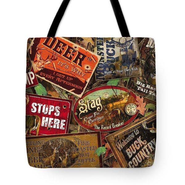 Deer Sign Collage Tote Bag