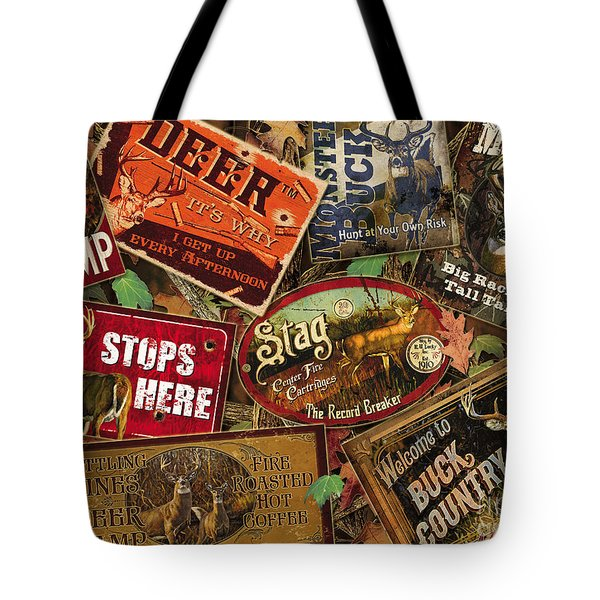 Deer Sign Collage Tote Bag