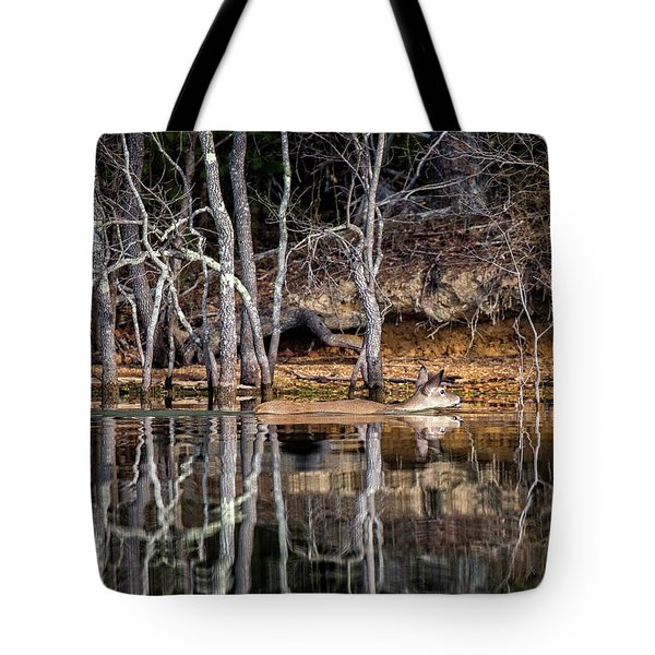 Tote Bag featuring the photograph Deer Swim by Alan Raasch