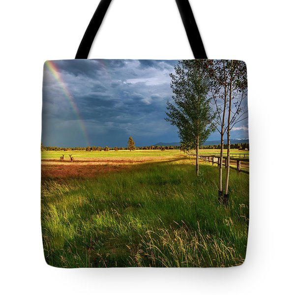 Tote Bag featuring the photograph Deer Under The Rainbow by Cat Connor