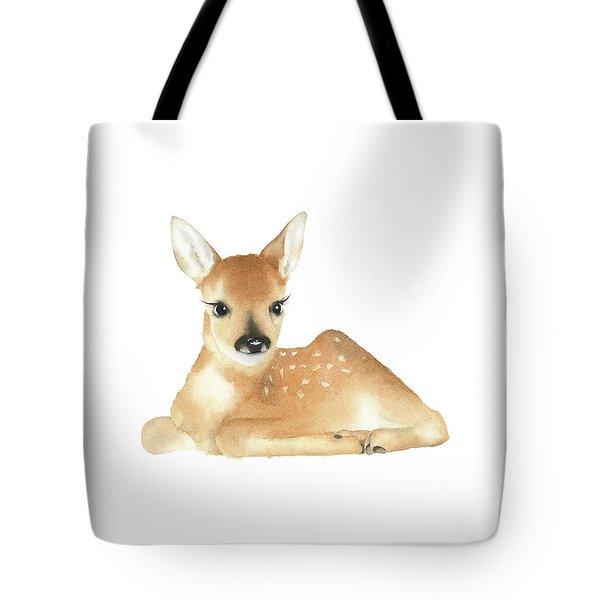 Tote Bag featuring the painting Deer Watercolor by Taylan Apukovska