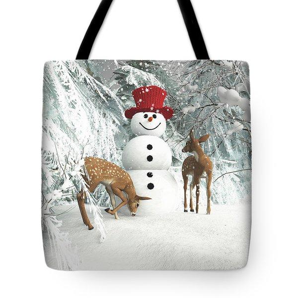 Deers At Chistmas Tote Bag
