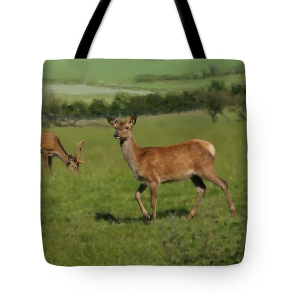 Deers On A Hill Pasture. Tote Bag