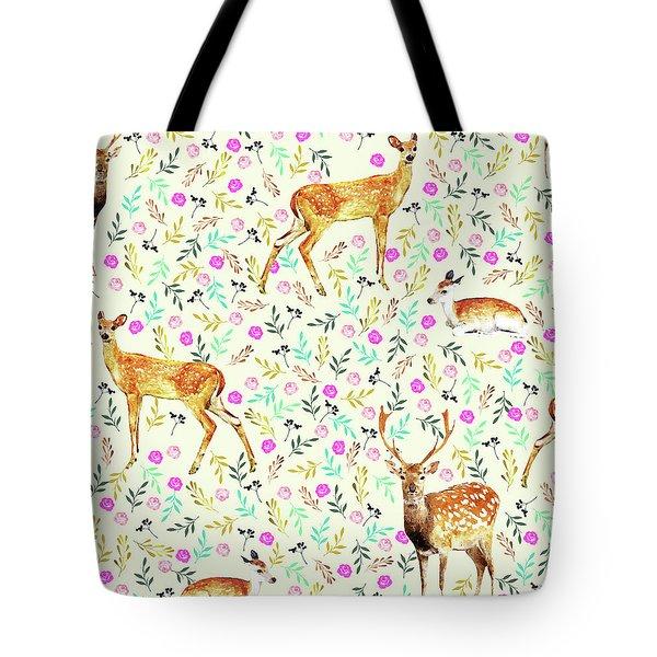 Deers Tote Bag by Uma Gokhale