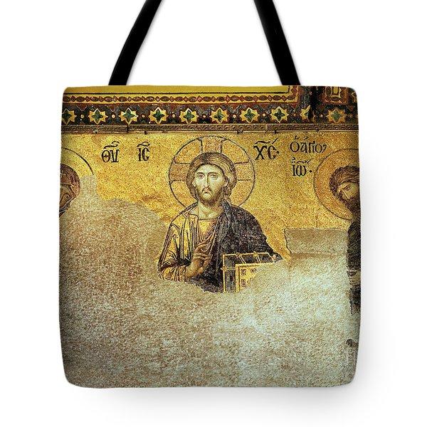 Deesis Mosaic Hagia Sophia-christ Pantocrator-the Last Judgement Tote Bag
